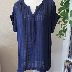 3/$20 Ana Navy Sheer Blouse